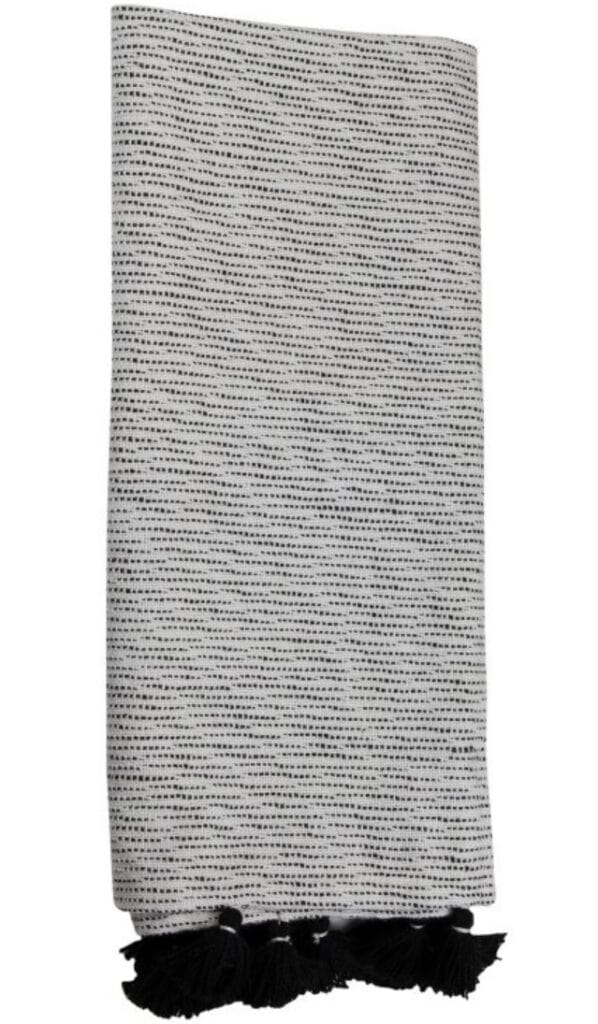 Black and White Hand Woven Outdoor Safe Throw Blanket with Hand Tied Tassels - Foreside Home & Garden