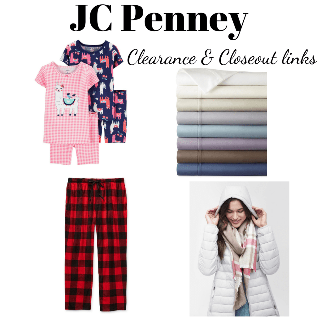 JC Penney collage of products found in clearance links