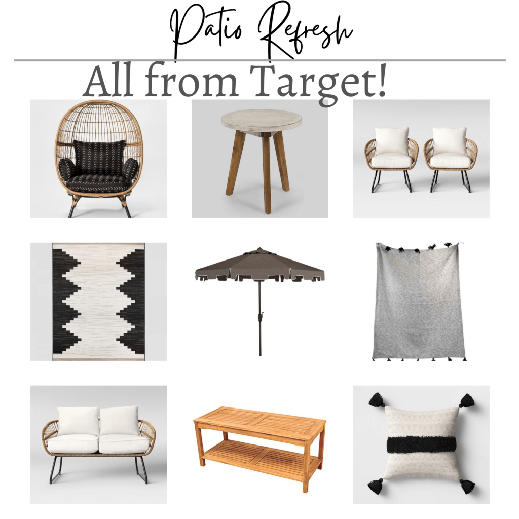 Target patio refresh collage of 9 affordable items