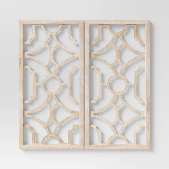 Set of 2 Wood Lattice Wall Hanging Brown - Threshold™ Home Decor from Target