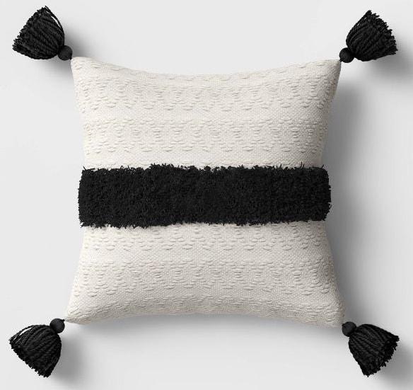 Outdoor Tasseled Throw Pillow Black/White - Opalhouse™