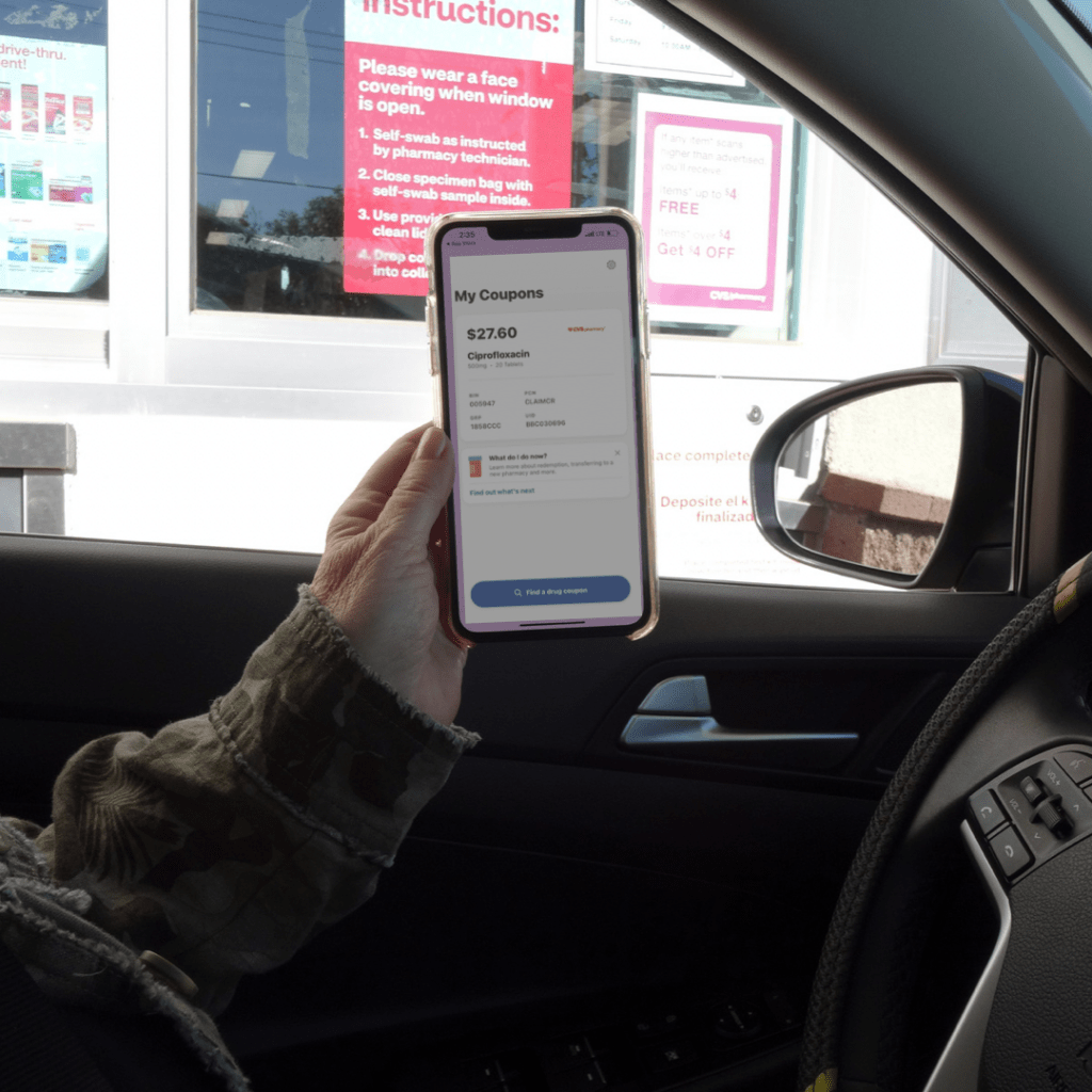 Using the drive-thru to pick up RX with Optum Perks mobile app