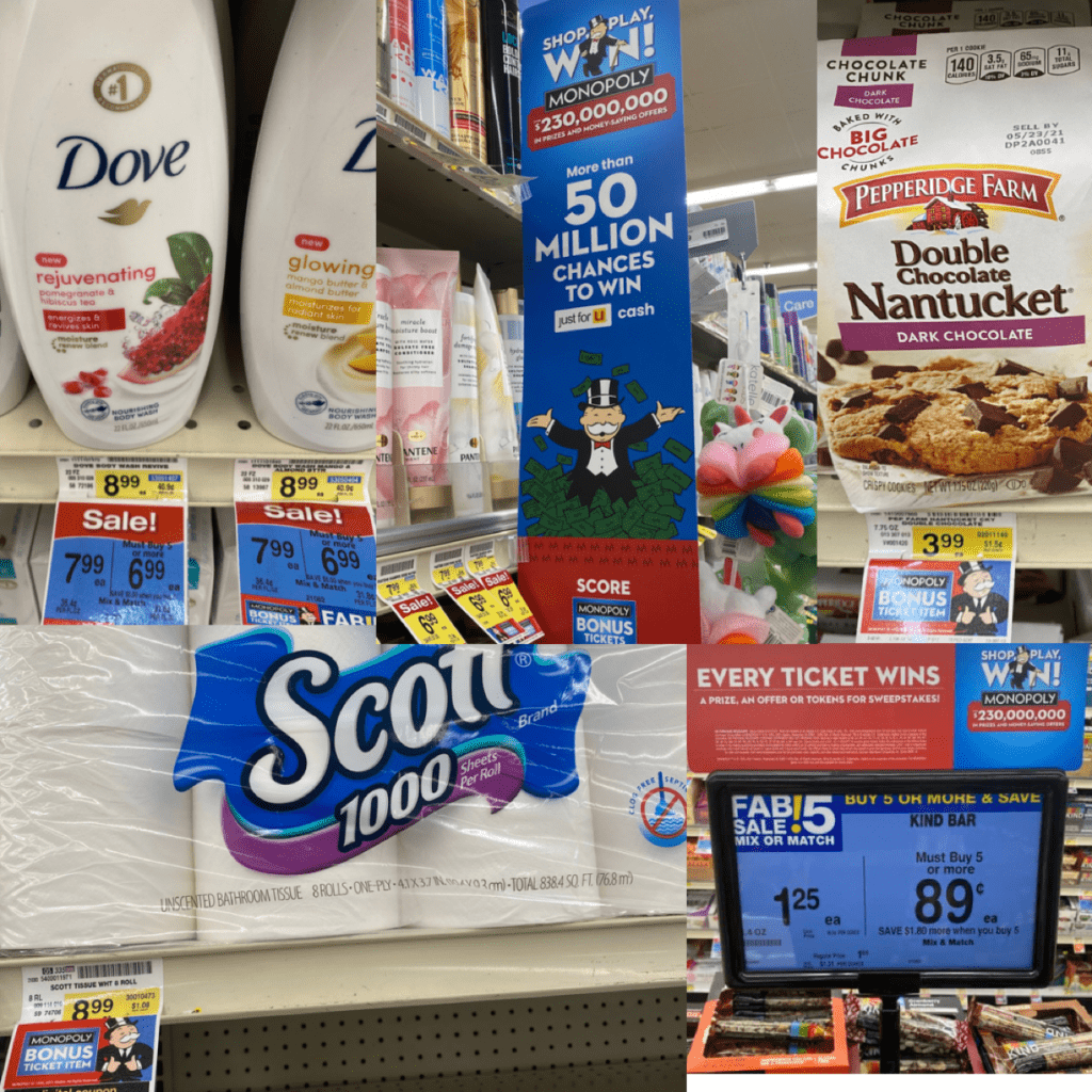 Shop, Play, Win! Monopoly Game at Albertsons collage of participating products