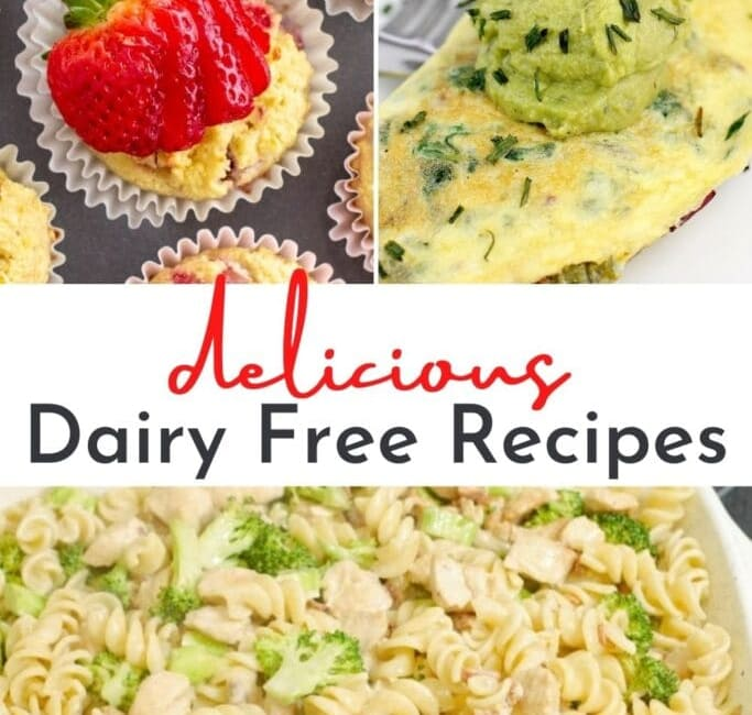 collage of dairy-free recipe photos