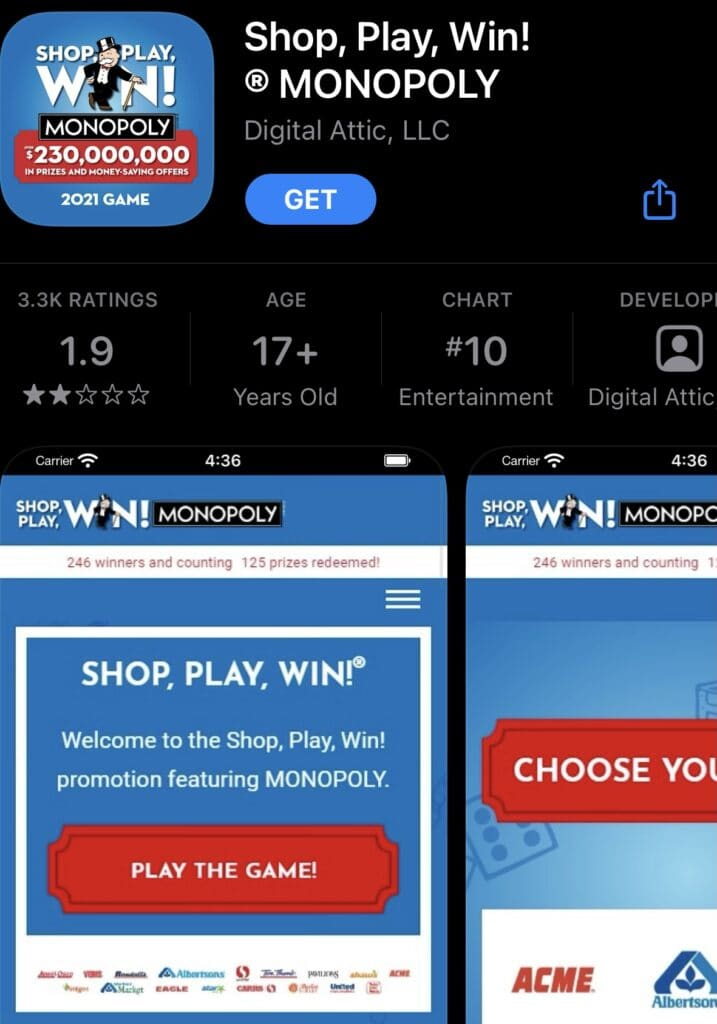 Shop, Play, Win! Monopoly Game at Albertsons from app store