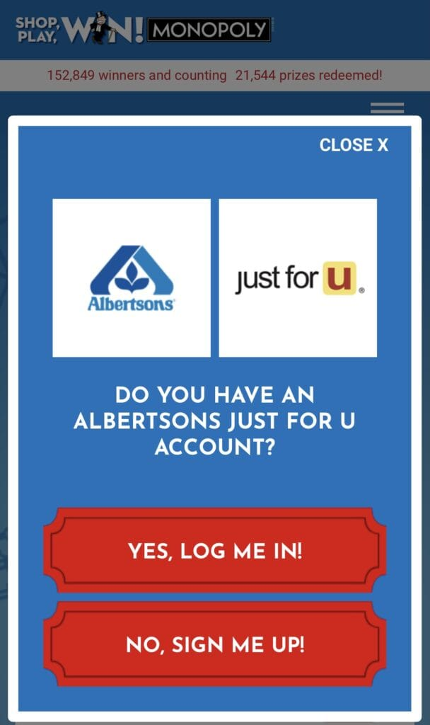 Shop, Play, Win! Monopoly Game at Albertsons with just for U loyalty account