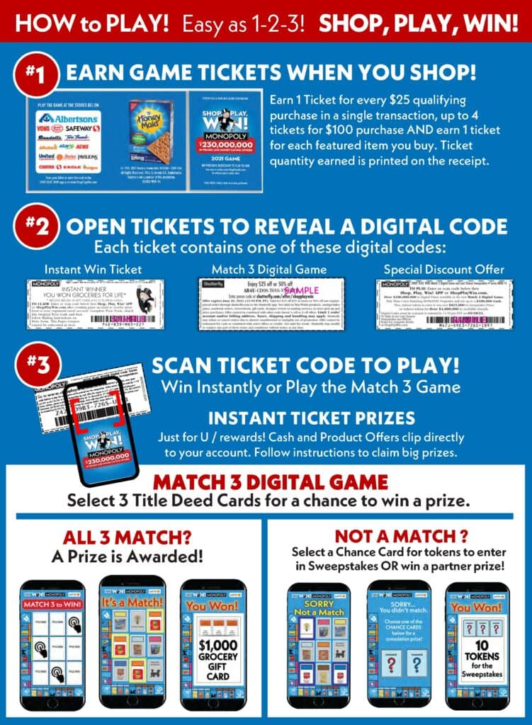Shop, Play, Win! Monopoly Game at Albertsons How to Play