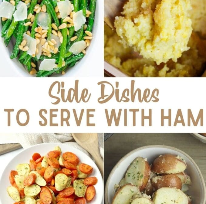 collage of recipe ideas to serve with ham