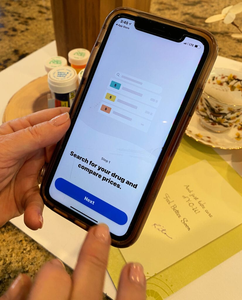 comparing prices using the Optum Perks mobile app