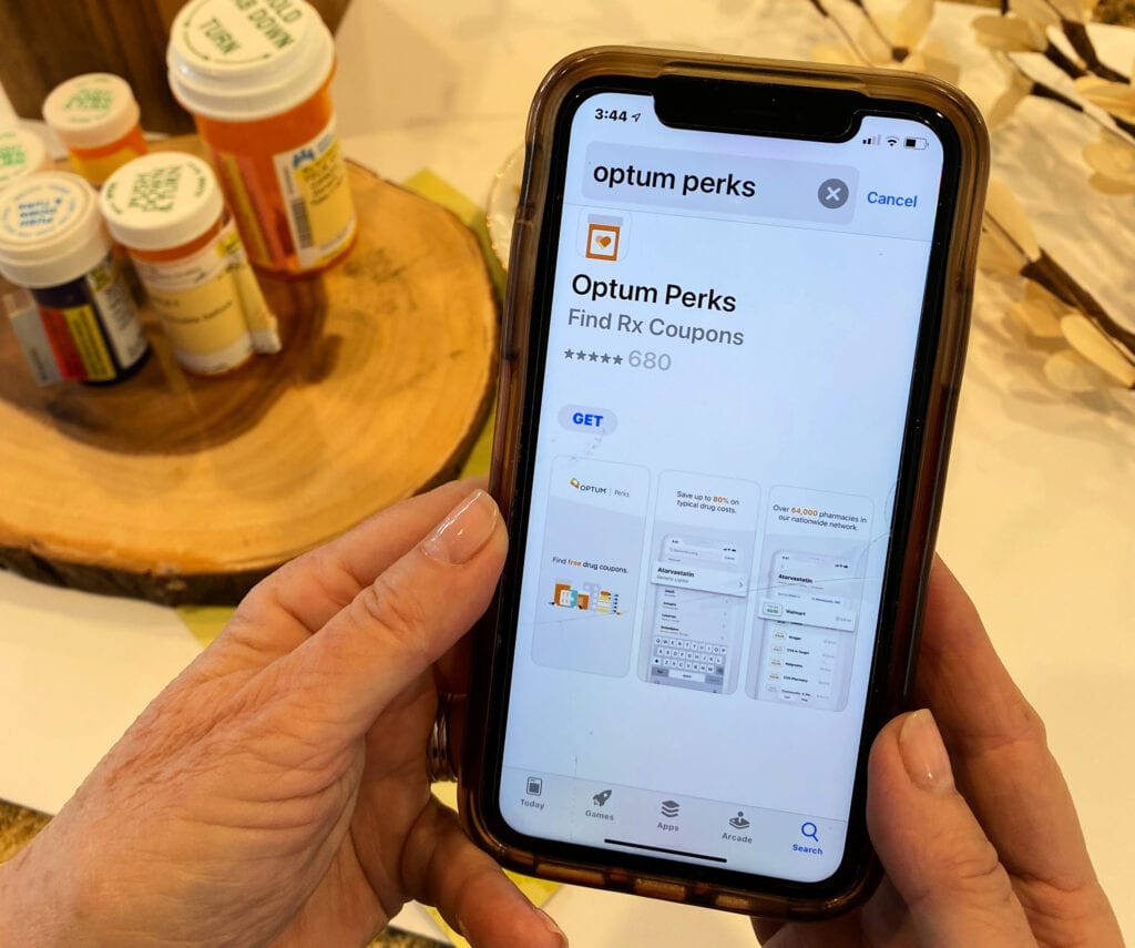 Optum Perks mobile app displayed on iPhone screen