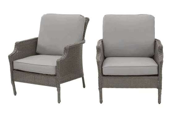 Grayson Ash Gray Wicker Outdoor Patio Lounge 2 pack patio furniture from Home Depot