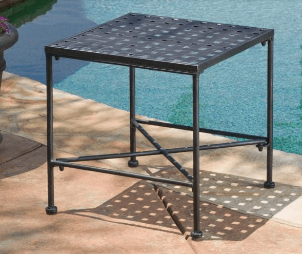 Petra Black Square Metal Outdoor Side Table patio furniture from Home Depot