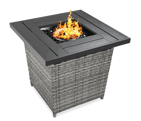 Gray Square Wicker Fire Pit Table patio furniture from Home Depot
