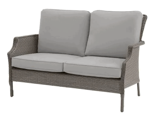 Grayson Ash Gray Wicker Outdoor Patio Loveseat with CushionGuard Cushions patio furniture from Home Depot