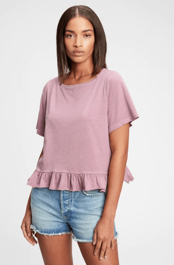 Vintage Cropped Ruffle T-Shirt on sale at GAP's Memorial Day Event