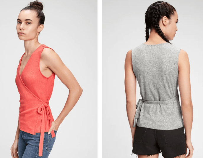 Softspun Sleeveless Wrap-Front Top on sale at GAP's Memorial Day Event