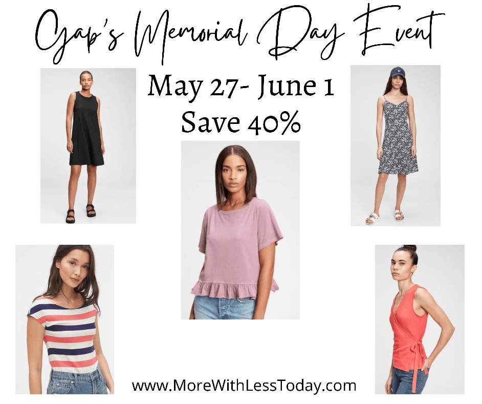 Gap Memorial Day sale collage of featured items