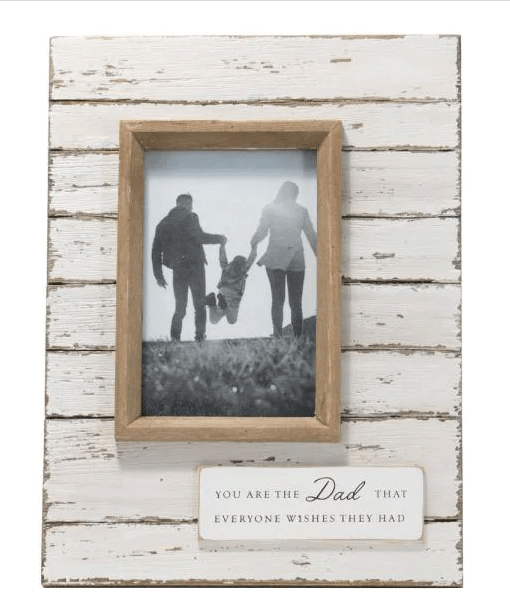 """4 in. x 6 in. Antique White """"Dad"""" Wood Decorative Picture Frame from Home Depot"""