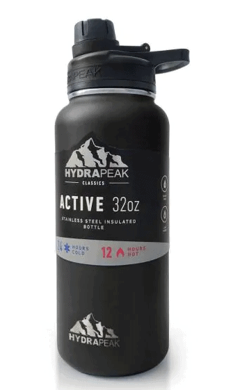 Active Chug 32 fl. oz. Black Triple Insulated Stainless Steel Water Bottle by HYDRAPEAK from Home Depot