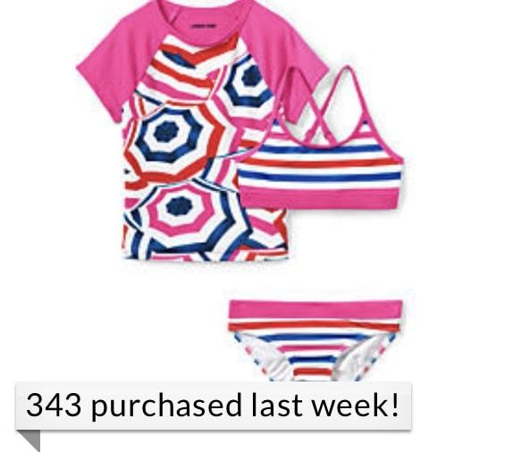 Girls Rash Guard Swim Top, Bikini Top and Bottoms Swimsuit Set from Land's End