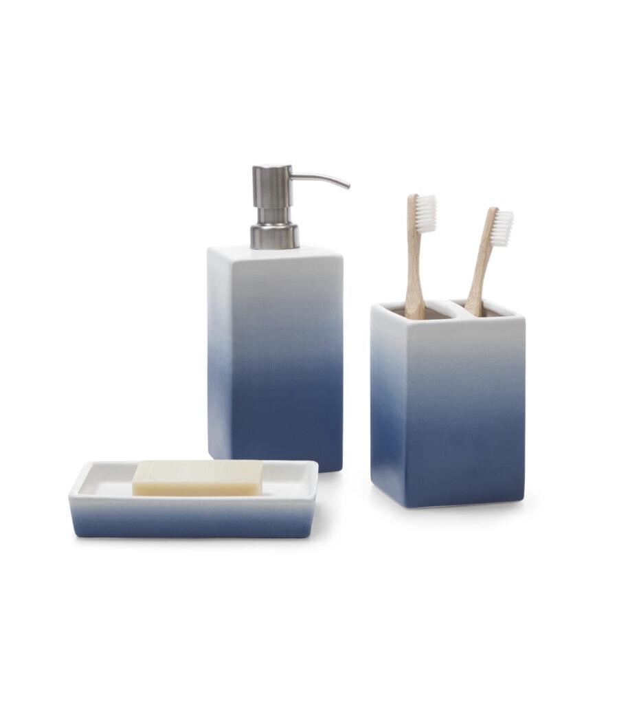 Gap Home Ombre 3 Piece Ceramic Bath Accessory Set Blue