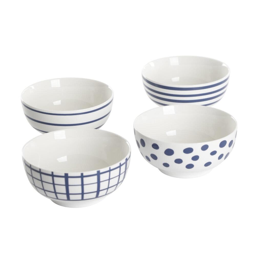 Gap Home New Blue 6-Inch Blue & White Assorted Fine Ceramic Bowls, Set of 4