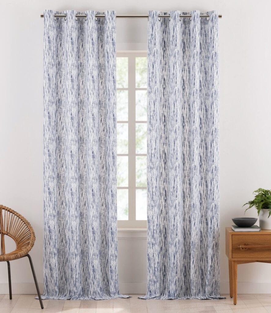 Gap Home Shibori Tie Dye Organic Cotton Light Filtering Window Curtain Pair