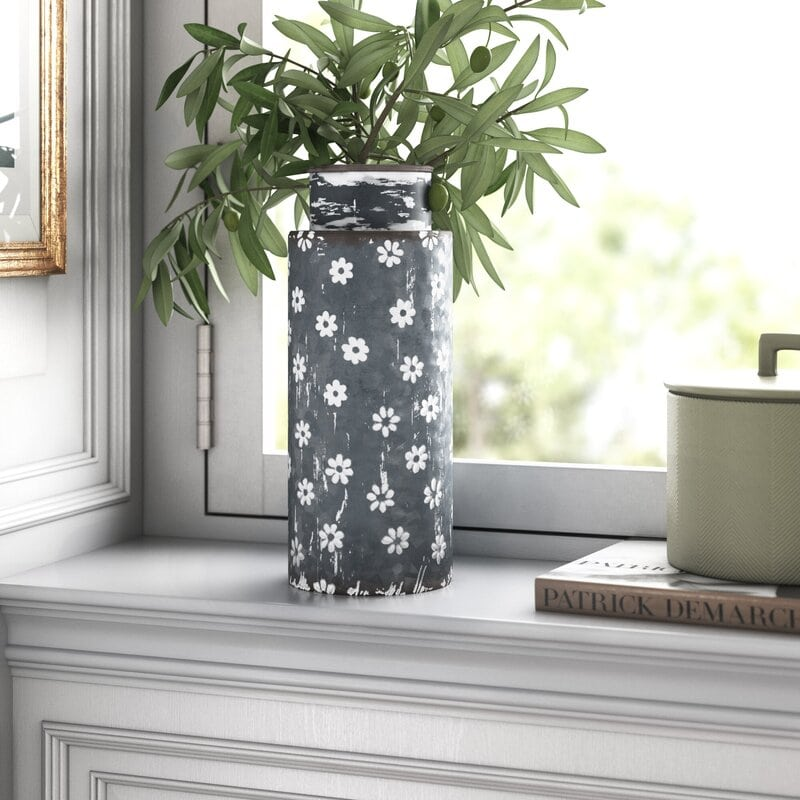 Beaucaire Distressed Gray/Whitewash 12'' Metal Table Vase