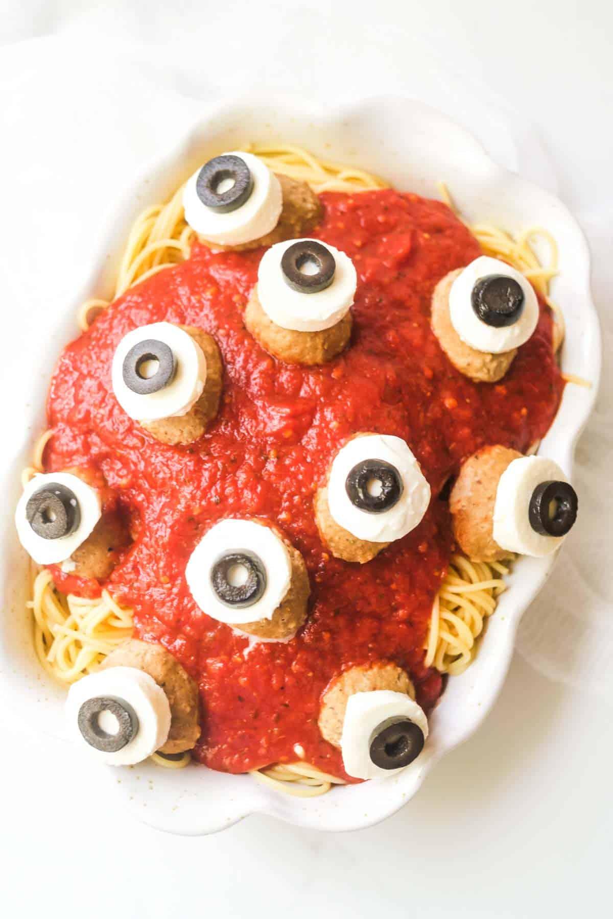 Halloween Party Treats - Eyeball Halloween Spaghetti