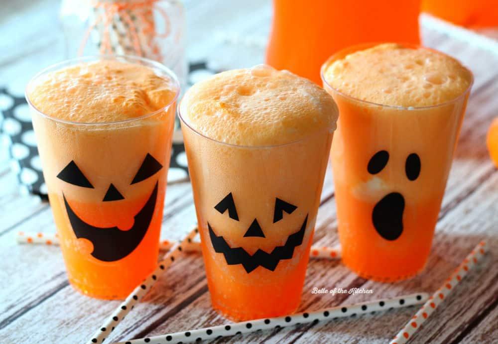 Halloween Party Treats - Fanta Jack O'Lantern Floats