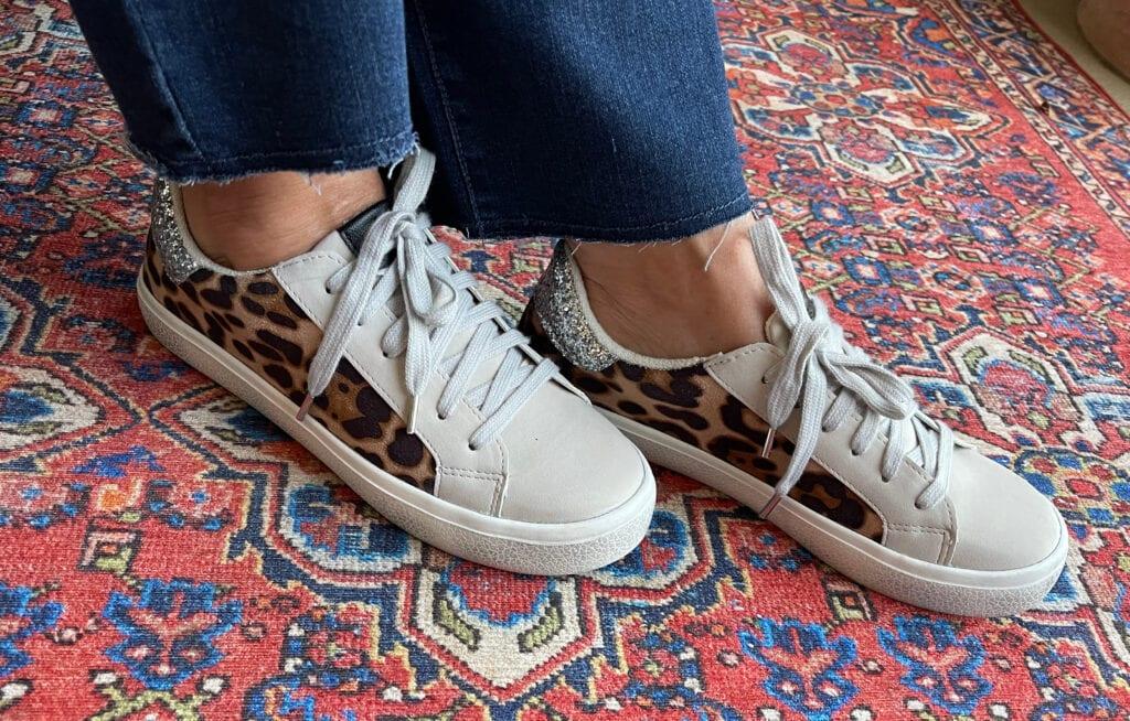 Scoop Women's Distressed Leopard Print Sneaker