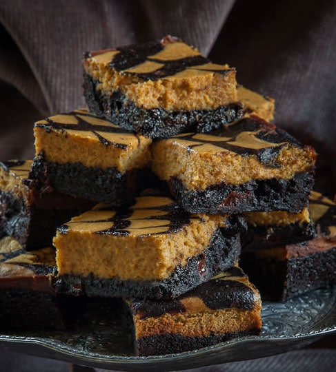 Halloween Desserts - Pumpkin Cheesecake Brownies