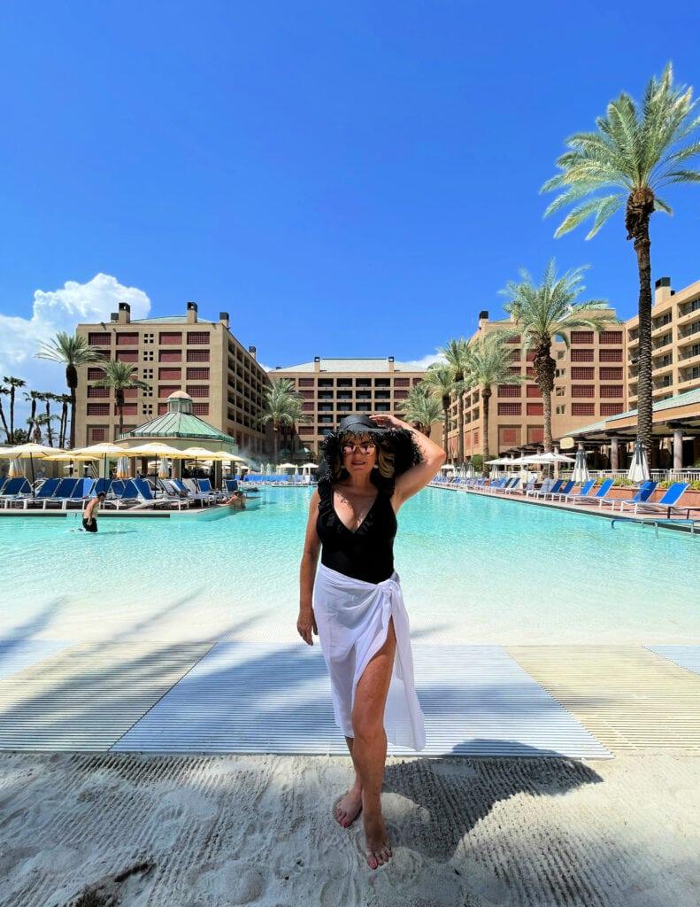 Lori Felix at Renaissance Esmeralda Resort & Spa sandy beach pool