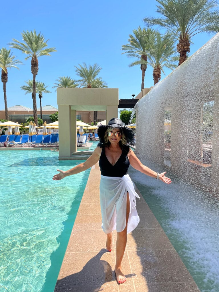 Lori Felix at Renaissance Esmeralda Resort & Spa waterfall feature