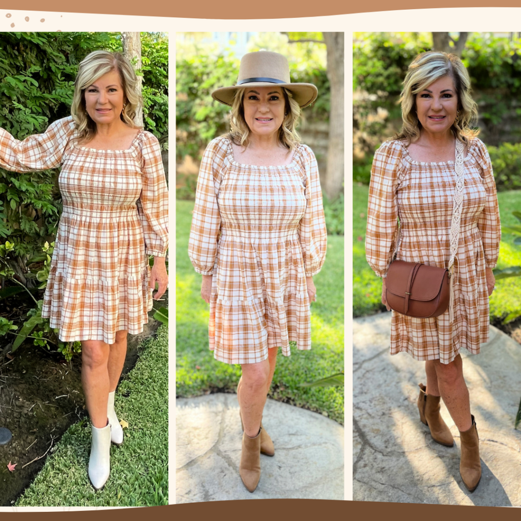 collage of Walmart fall fashion featuring Lori Felix of More with Less Today